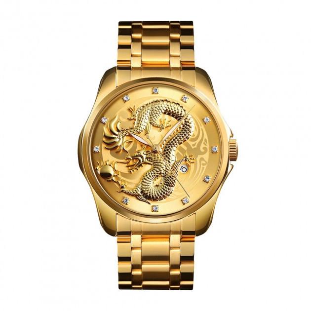 Skmei  9193 золотистые мужские классические часы