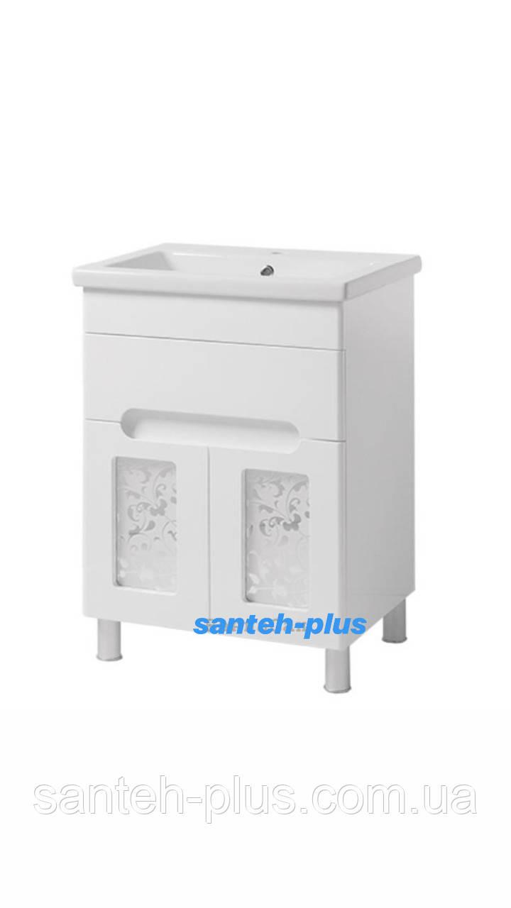 Тумба для ванной комнаты серии Гламур Т6 с умывальником Клио-60