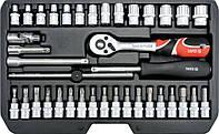Набор инструмента с головками и насадками в чемодане 38 шт. Yato YT-14471, фото 1