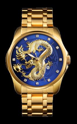 Skmei 9193 золотисті з синім чоловічі класичні годинник