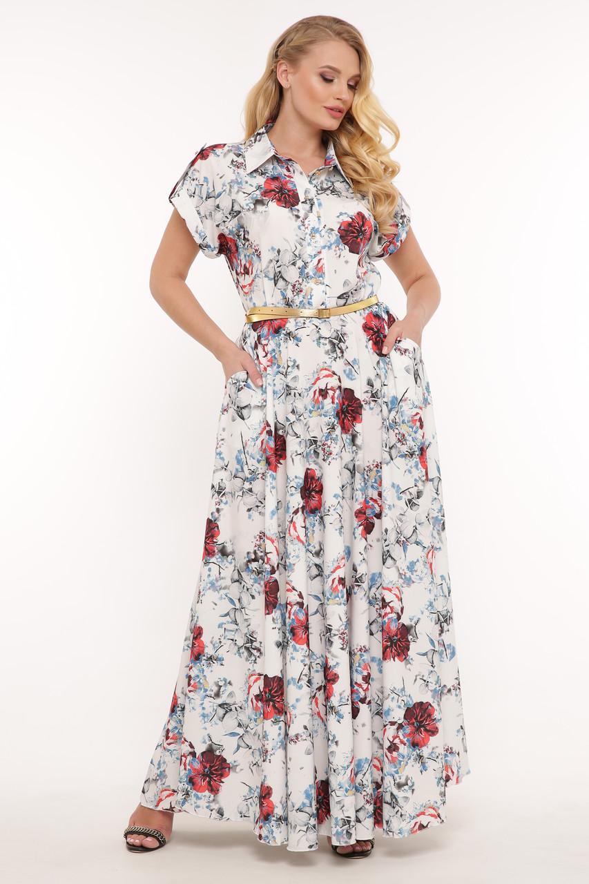 Летнее платье в пол большого размера Алена