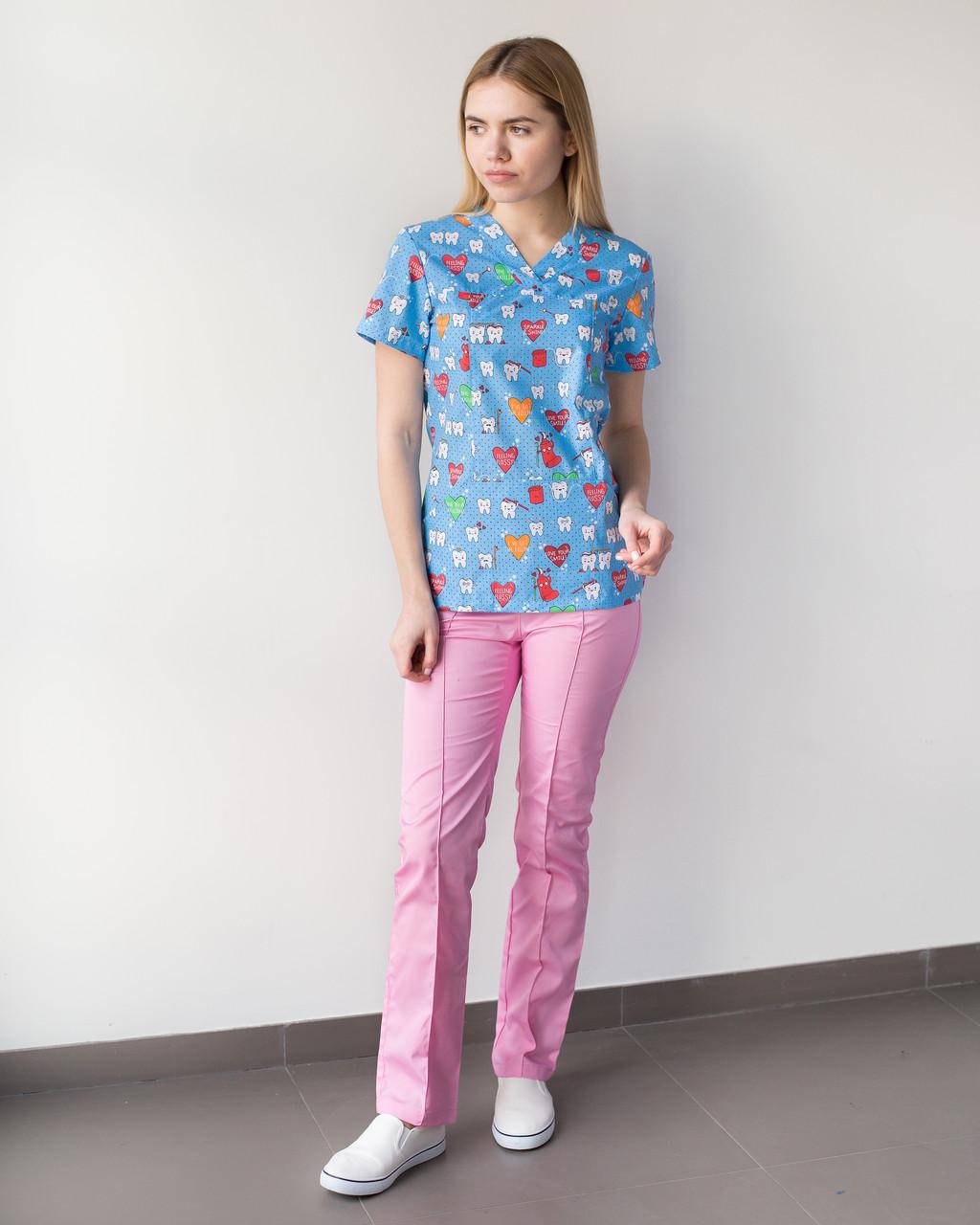 Медицинский женский костюм Топаз принт  Teeth blue