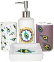 """Набор аксессуаров """"Павлиний глаз"""" для ванной комнаты 4 предмета, керамика"""