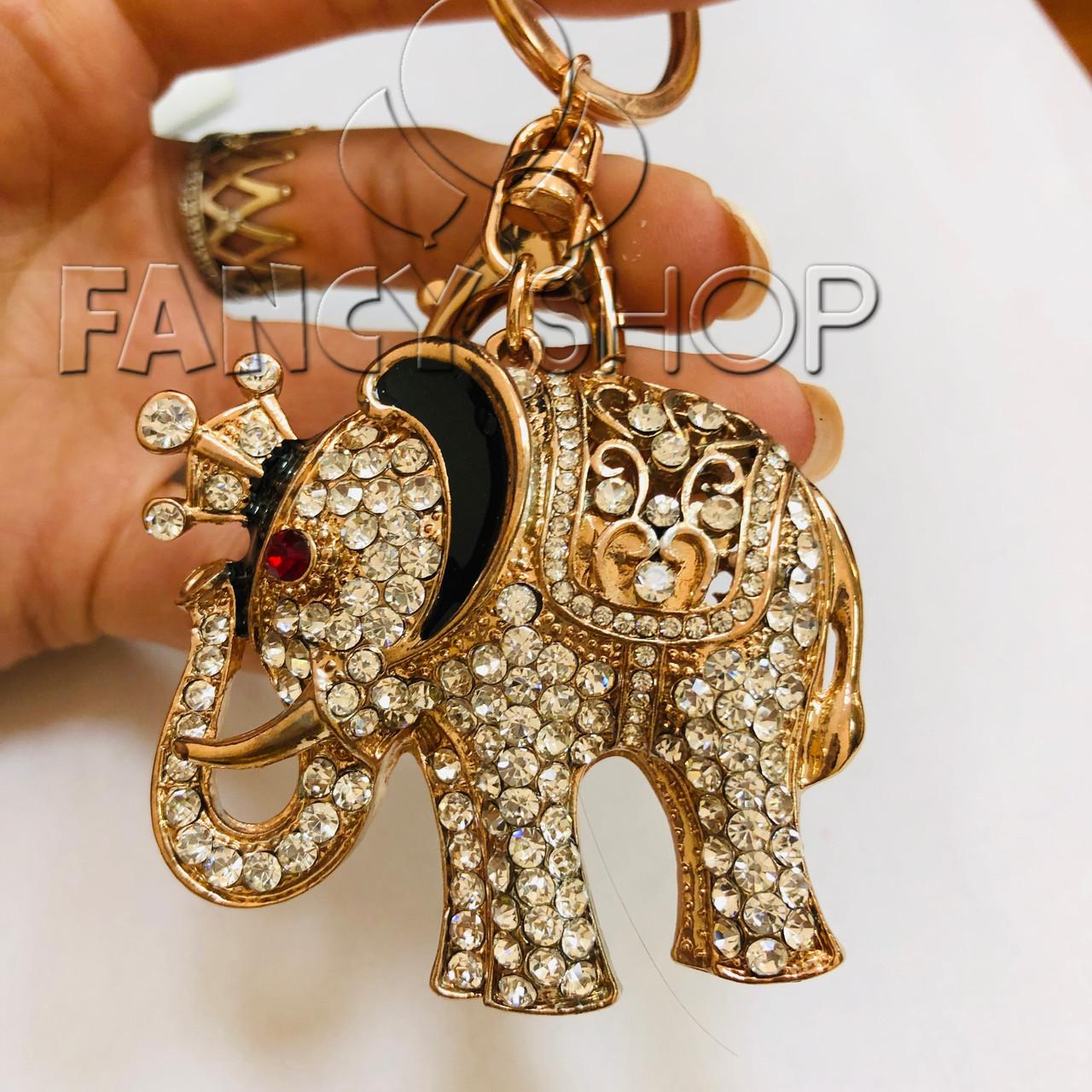 """Брелок з камінням """"Золотий слон"""", металевий, Брелок со стразами """"Слон"""""""