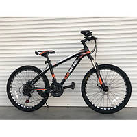 Спортивный подростковый двухколесный велосипед TopRider Pelle 611 оранжевый на  24 дюйма