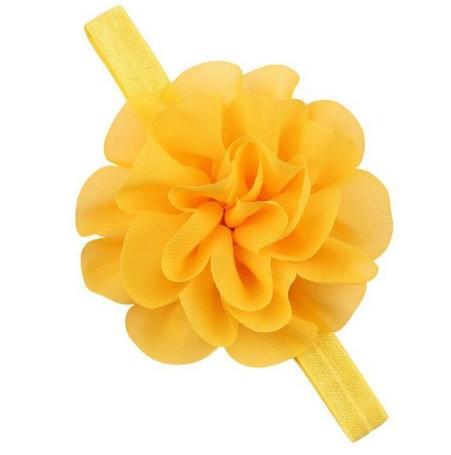 Повязка для девочек на голову желтая - размер универсальный (на резинке), цветок 10,5см