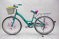 Двухколесный велосипед с корзиной BELLISIMA 24 дюймов бирюзовый