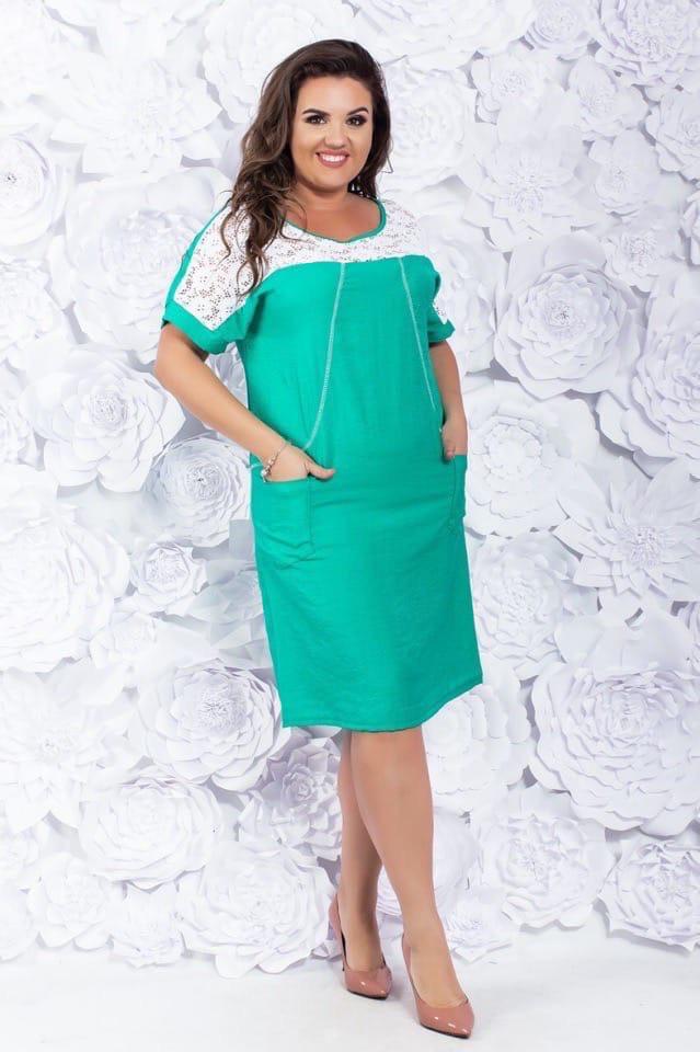 Платье коттоновое женское батальное бирюза