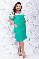 Платье коттоновое женское батальное бирюза, фото 1