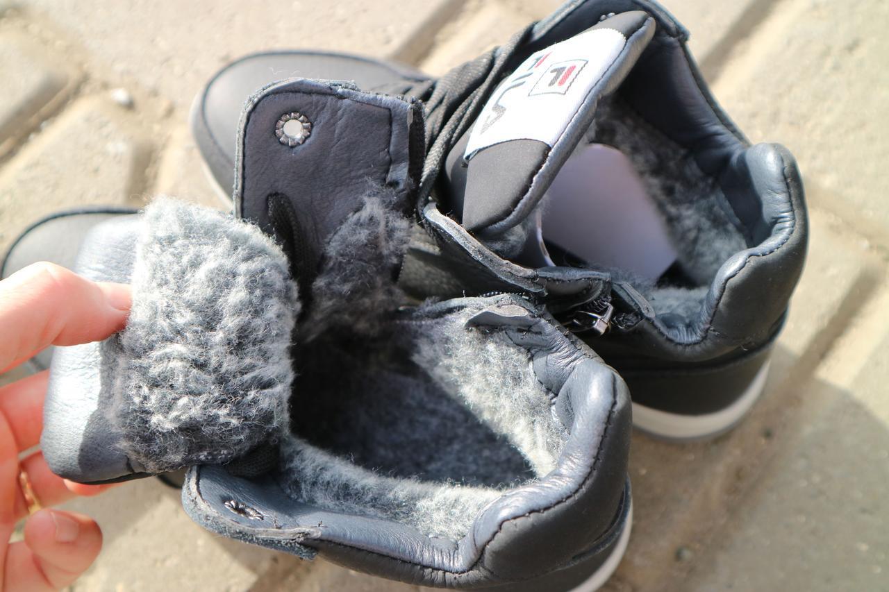 Детские ботинки кожаные зимние черные CrosSav z 48