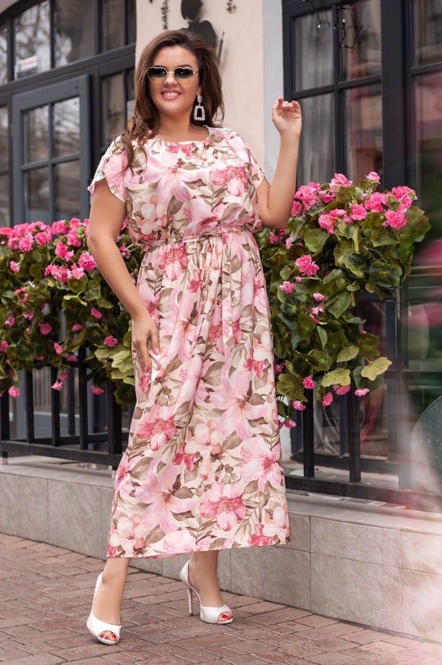 Платье с цветочным принтом шёлк батал