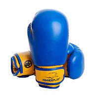 Перчатки боксерские детские PowerPlay 3004 JR, сине-желтый, р-р 6-8 унций, PU, на липучке (PP_3004)