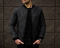 Бомбер мужской весенний осенний Force x black / куртка стеганая ЛЮКС