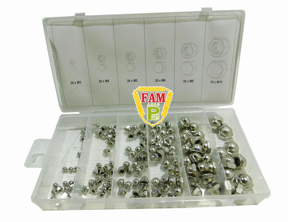 Гайки м3- М10 YATO: замкнутые полусферические, пластиковая коробка; наб. 150 шт., YT-06775