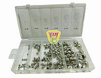 Гайки м3- М10 YATO: замкнутые полусферические, пластиковая коробка; наб. 150 шт., YT-06775, фото 1