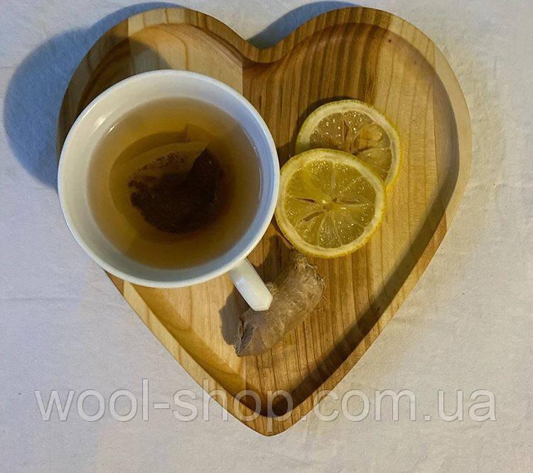 Дерев'яна менажниця серце 24х22 см.