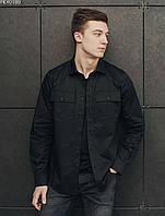 Мужская рубашка однотонная (чоловіча сорочка стаф) Staff black PKY0189