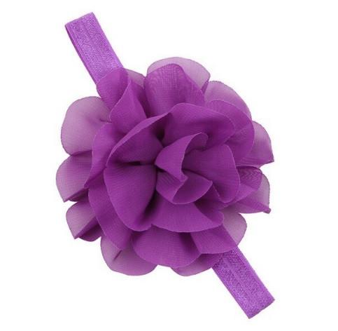 Повязка для девочек на голову фиолетовая - размер универсальный (на резинке), цветок 10,5см