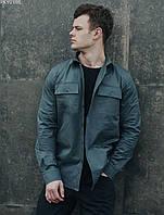 Мужская рубашка серая однотонная (чоловіча сорочка стаф) Staff gray PKY0188