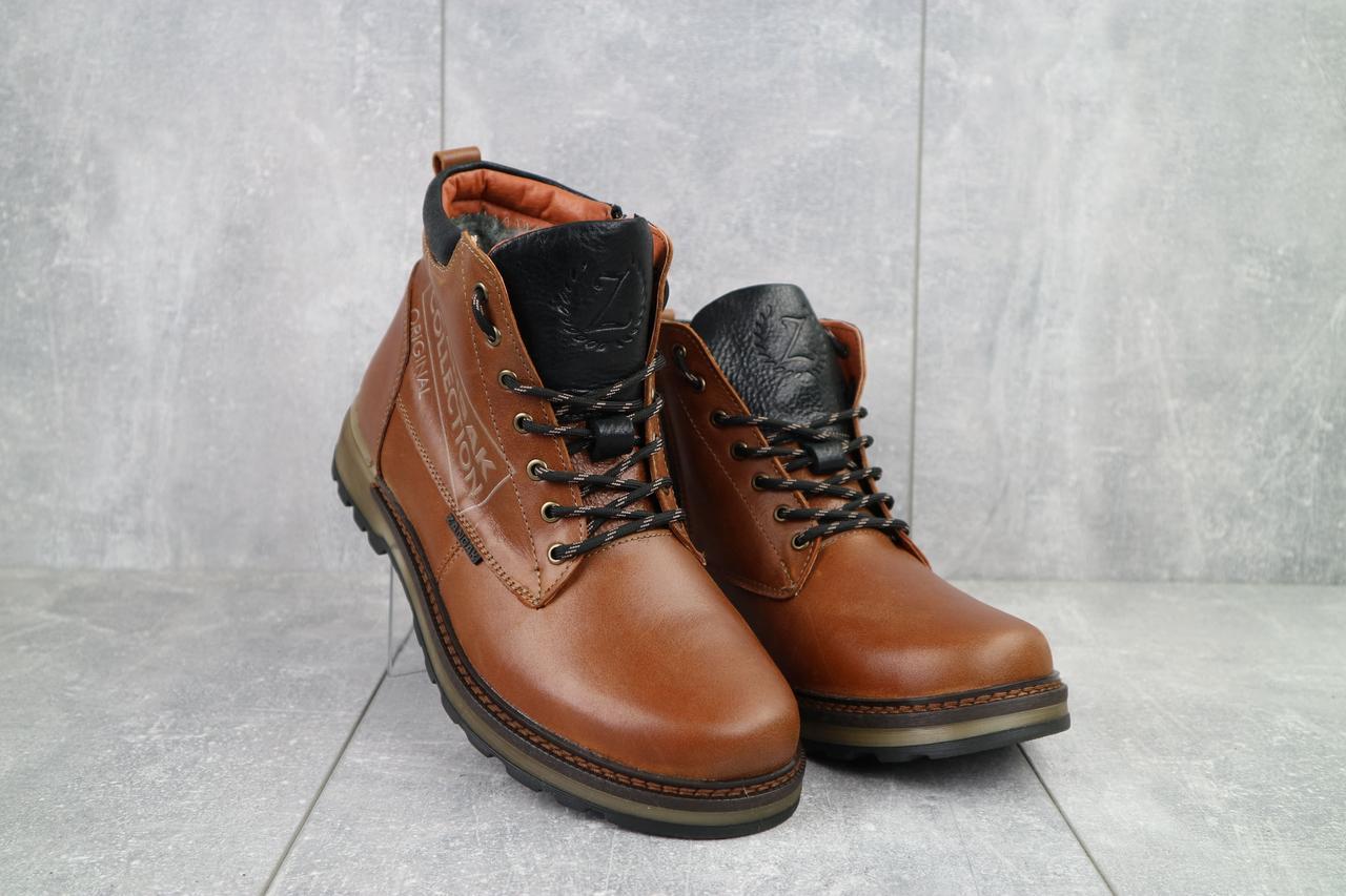 Ботинки мужские Zangak 941 риж рыжий-черные (натуральная кожа, зима)