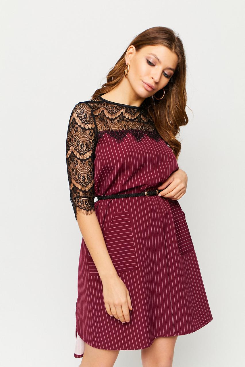 S, M, L / Вишукане жіноче плаття з мереживом Bertony, марсала