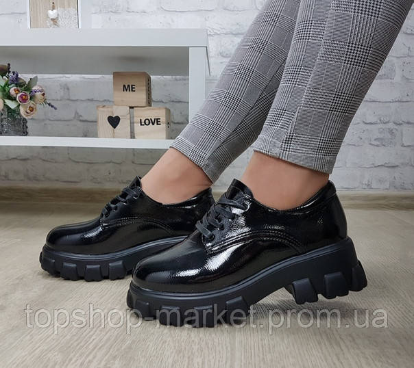 Туфли женские  в мужском стиле на массивной подошве