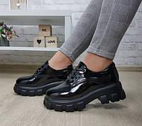 Туфли женские  в мужском стиле на массивной подошве, фото 1
