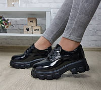 Женские туфли в мужском стиле на массивной подошве, фото 1