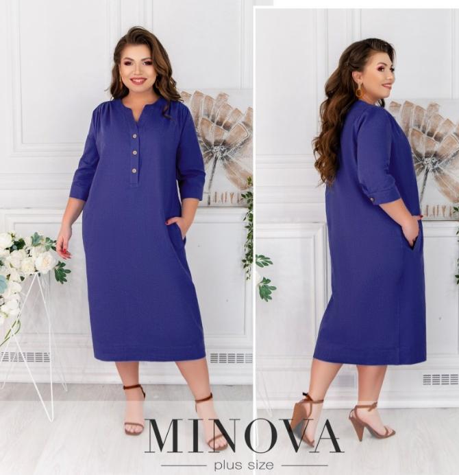 Синее льняное платье-миди Minova Фабрика моды Размеры: 50-52, 54-56, 58-60