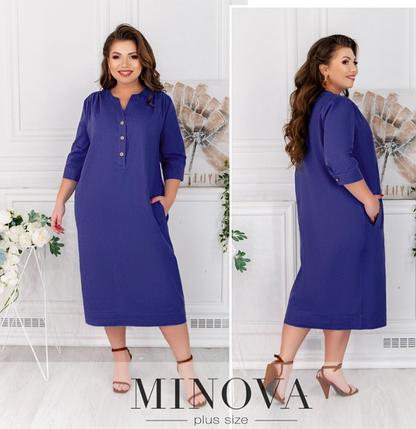 Синее льняное платье-миди Minova Фабрика моды Размеры: 50-52, 54-56, 58-60, фото 2