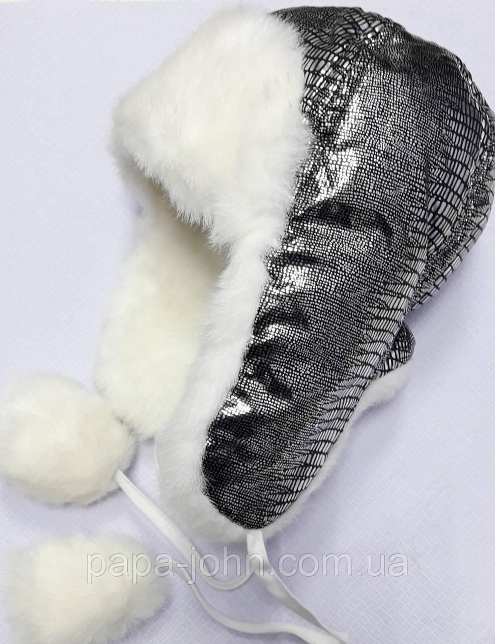 Шапка Кетрін зимова, чорний+срібло, david's Star, р. 50 52