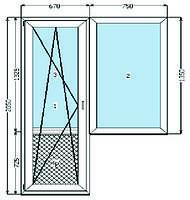 Балконный блок VEKA SOFTLINE, 1- кам.