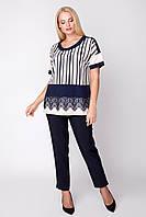 Женская блуза свободная слегка приталенная большого размера 50, 52 р цвет молочный