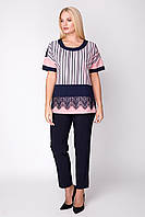 Женская блуза свободная слегка приталенная большого размера 50 р цвет пудра