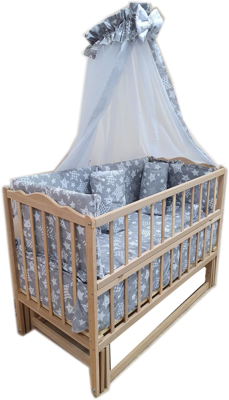 Детская эко кроватка маятник Малыш без лака без ящика