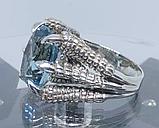 Срібне чоловіче кільце перстень з топазом натуральним Кігті Дракона, фото 5