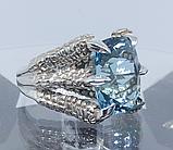 Срібне чоловіче кільце перстень з топазом натуральним Кігті Дракона, фото 4