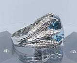Срібне чоловіче кільце перстень з топазом натуральним Кігті Дракона, фото 3