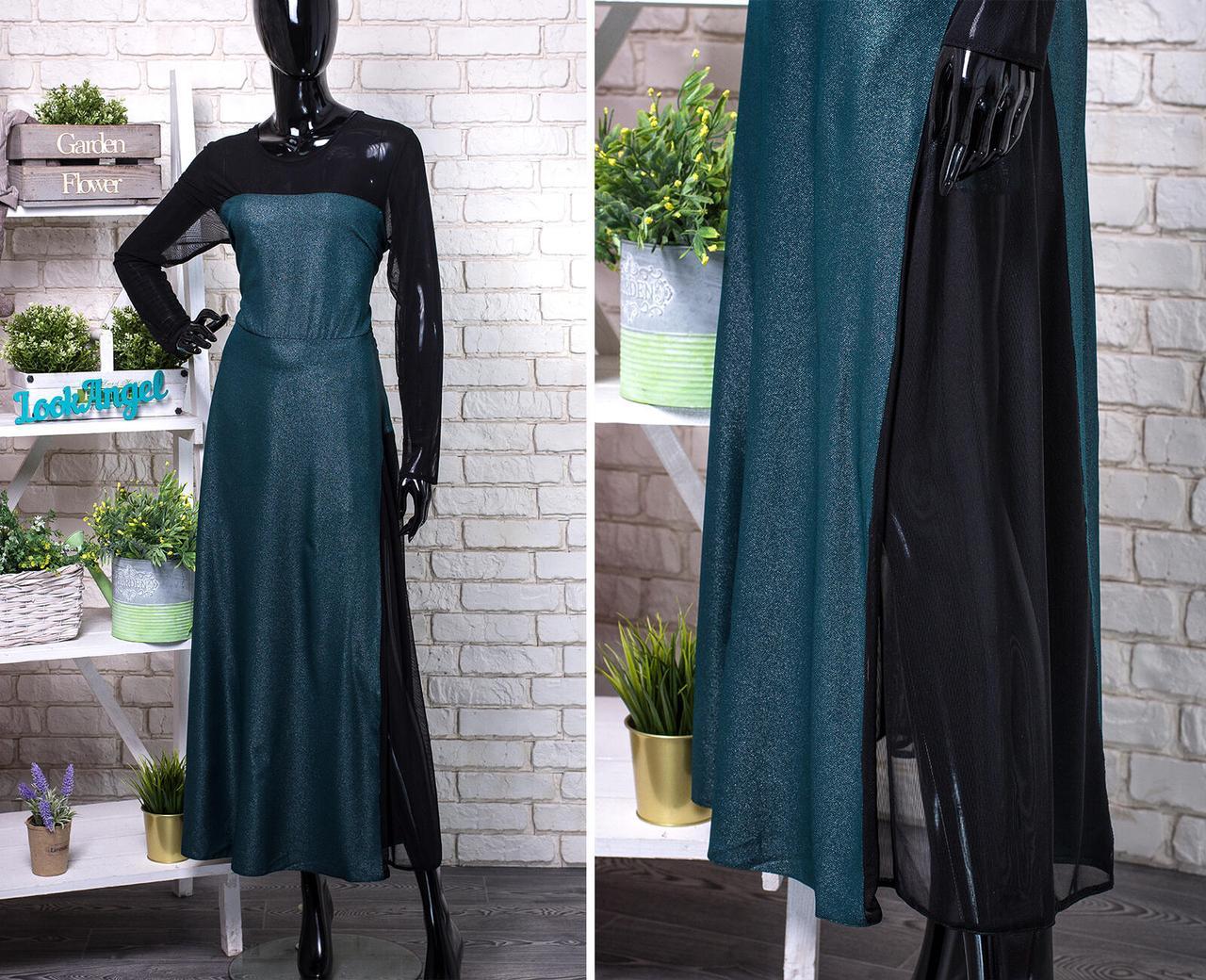 """Шикарное женское платье в пол с сеточкой  """"Шелковое с блестящим напылением""""  50, 52, 54, 56 размер батал 50"""