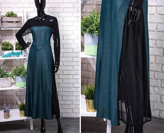 """Шикарное женское платье в пол с сеточкой  """"Шелковое с блестящим напылением""""  50, 52, 54, 56 размер батал 50, фото 2"""