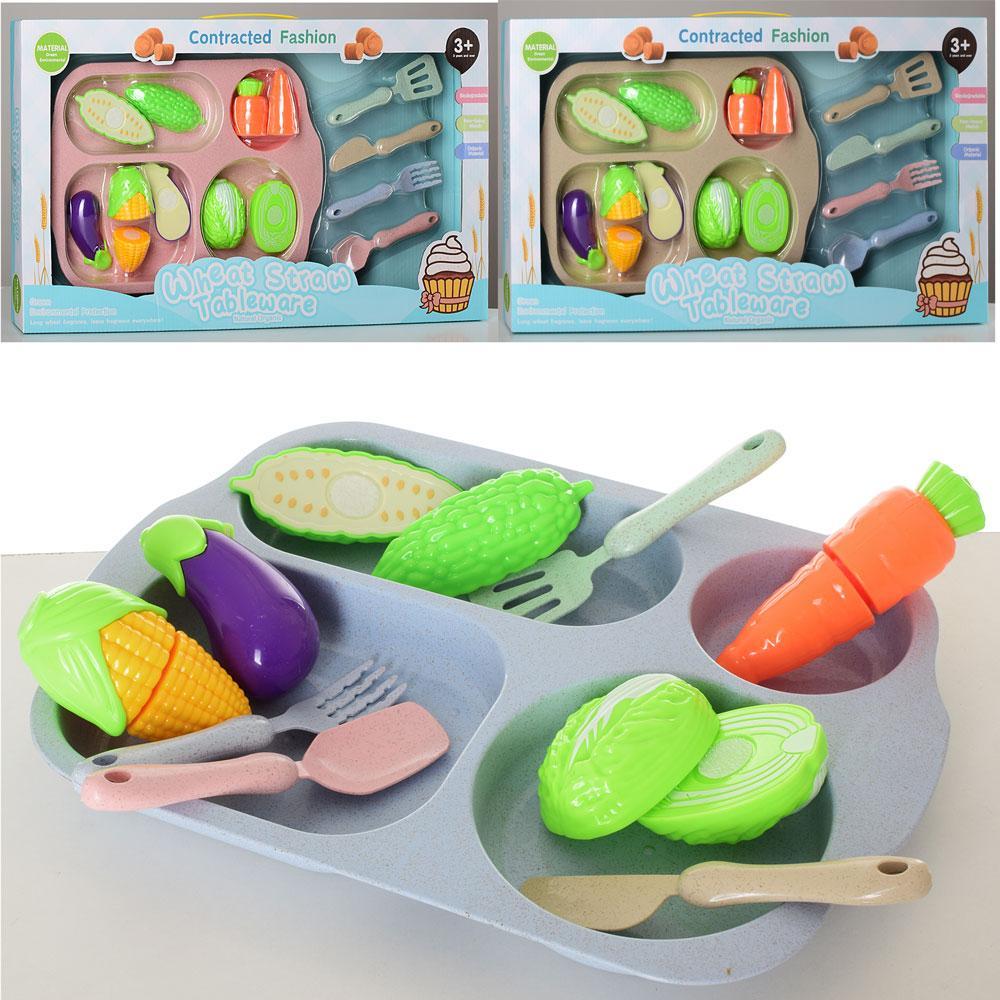 Продукты HC065-3 (18шт) на липучке, овощи, 5шт, поднос, кухон.принадлежн, 3цв, в кор-ке,50-28-5,5см