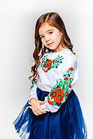 Детская белая вышиванка для девочки с цветочной вышивкой Букет цветов Piccolo L