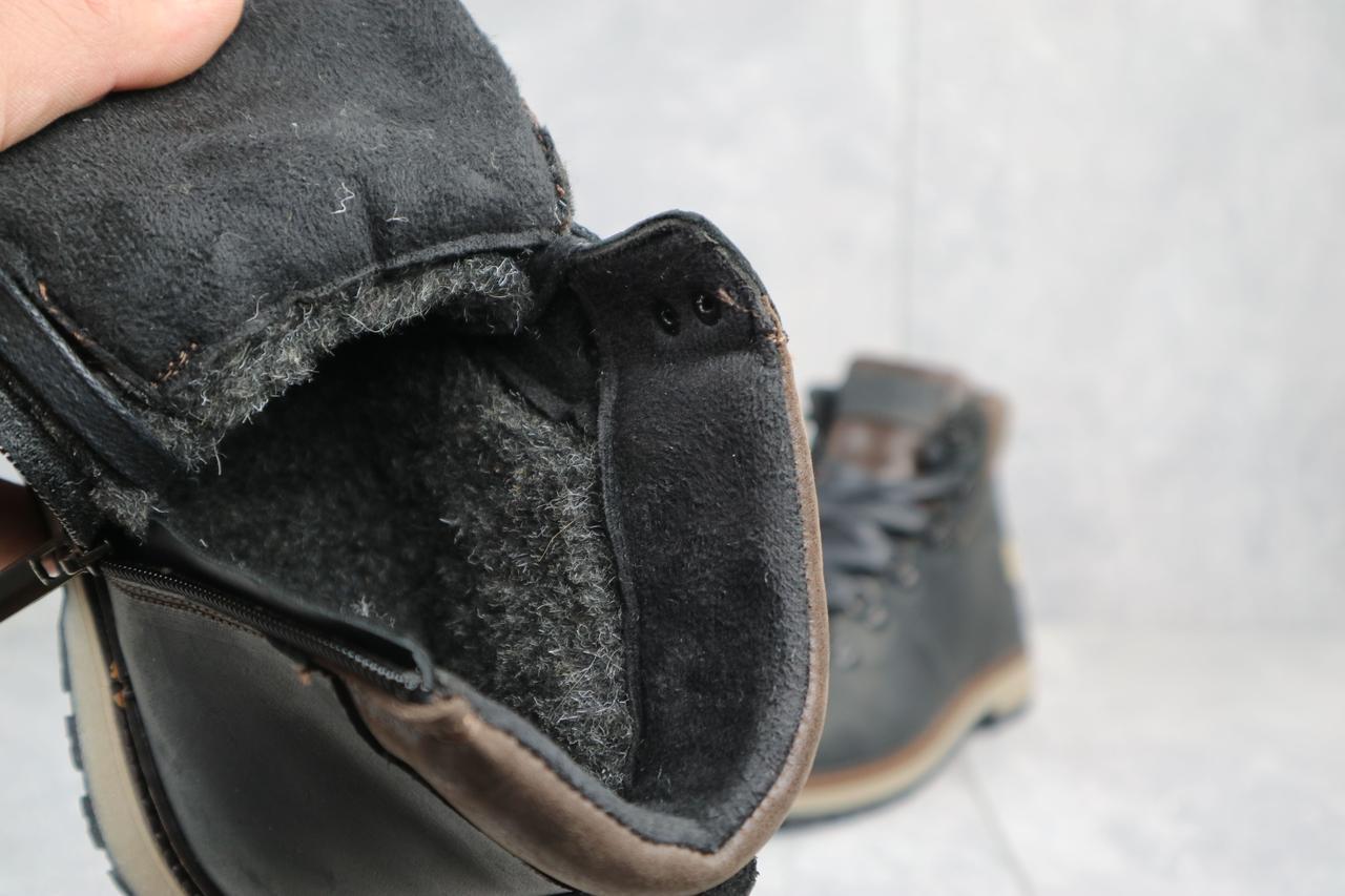 Подростковые ботинки кожаные зимние черные-матовые Yuves 783