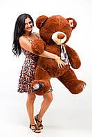 """Плюшевый медведь """"Клетка"""" Шоколадный 130 см"""