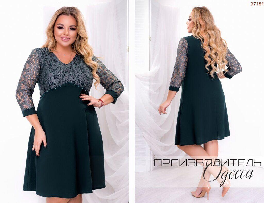 "Изысканное женское платье, ткань ""Креп-Дайвинг+Гипюр"" 50 размер батал"