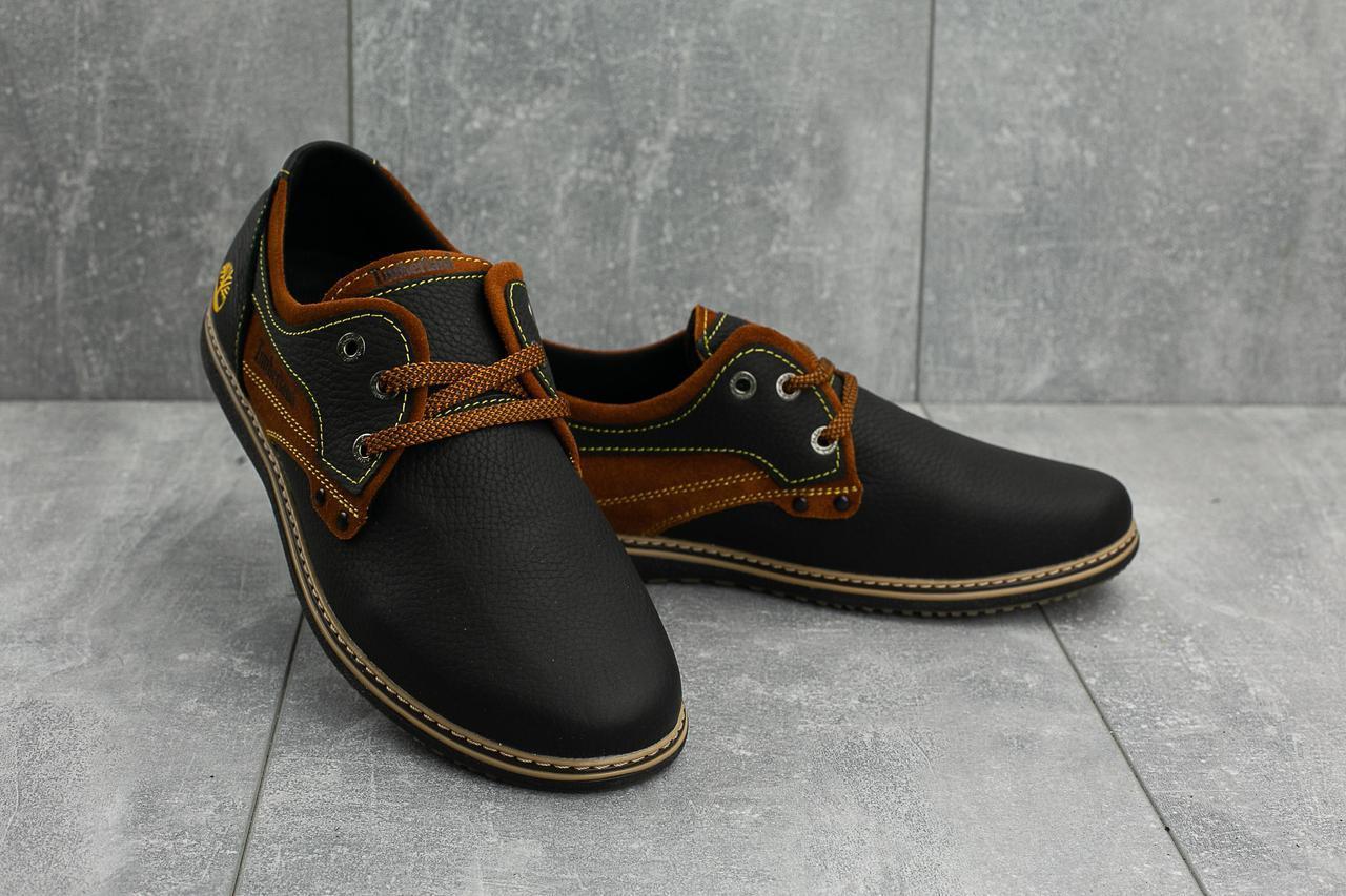 Мужские Повседневные туфли кожаные весна/осень черные-рыжие CrosSAV 116