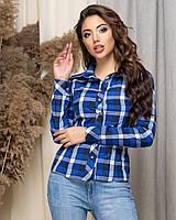 Рубашка женская нарядная в клетку АНД431 синий, фото 1