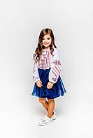 Детская белая хлопковая вышиванка для девочки с красной вышивкой Ручеек Piccolo L