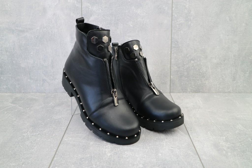 Женские ботинки кожаные зимние черные Sezar 19k