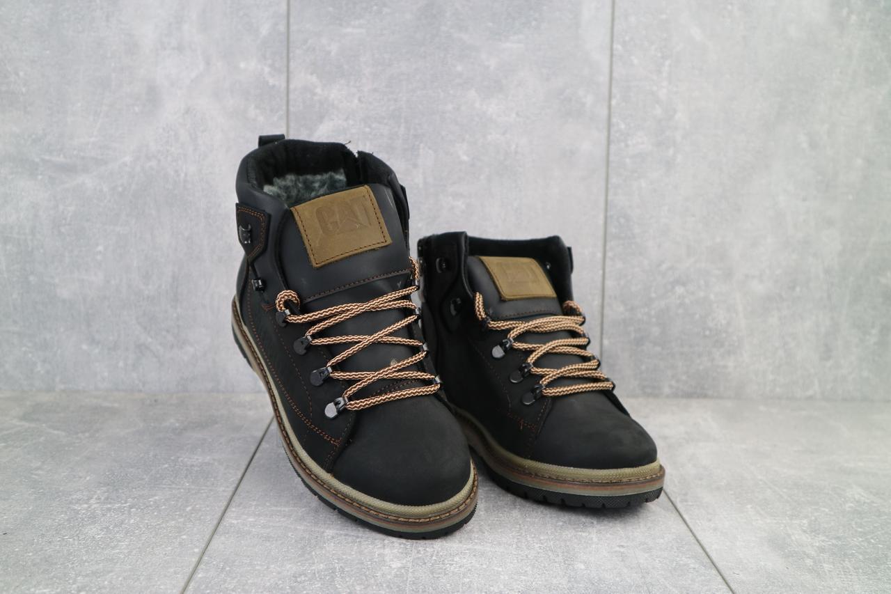 Подростковые ботинки кожаные зимние черные-матовые CrosSAV 322